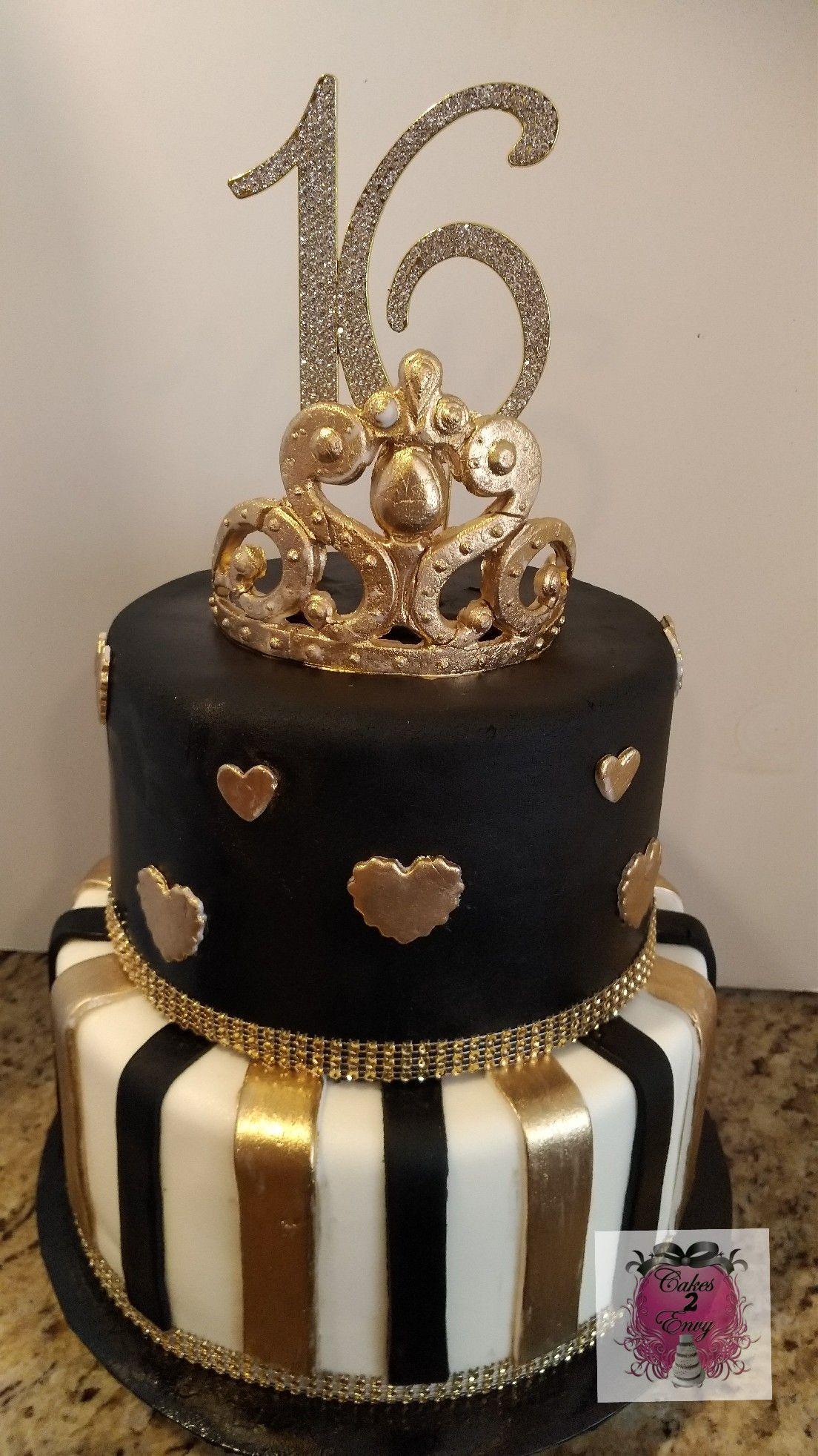 Black Gold Sweet 16 Cake Www Cakes2envy Com Sweet 16 Cakes