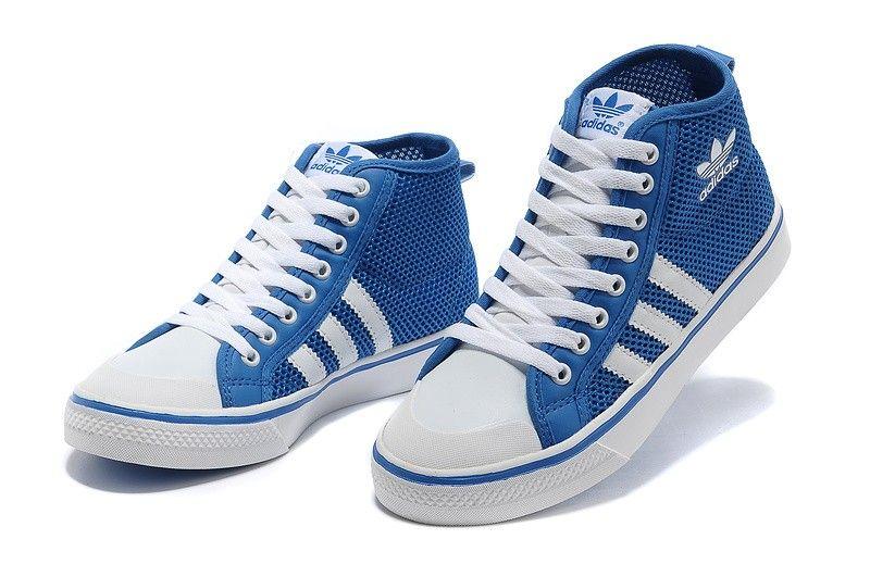 8f8513b0811555 Adidas Originals Nizza Hi High Top Trainers-Blue White. Unfortunately for  women. Damn!!!
