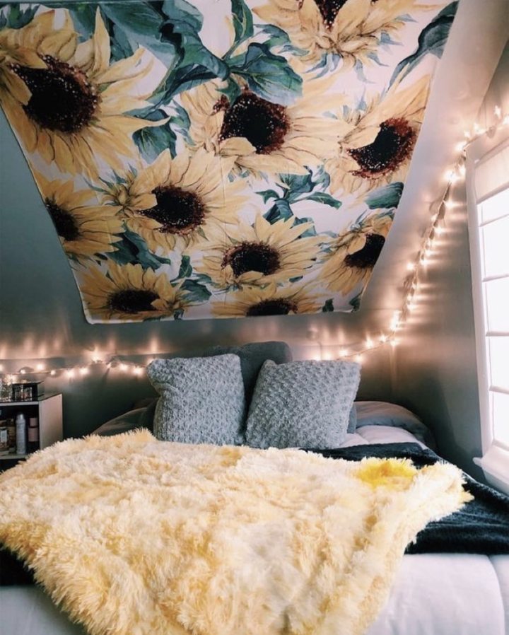 Sunflower Tapestry Cute Bedroom Ideas Room Decor Aesthetic Bedroom