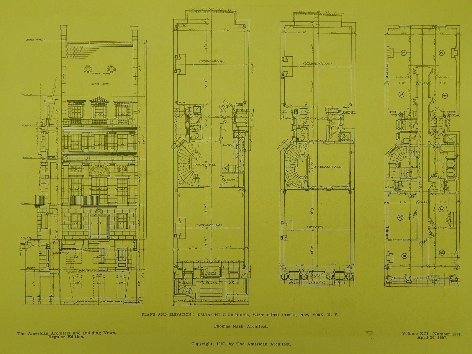 Elevation of the Delta-Phi Club-House in New York NY, 1907. Thomas Nash