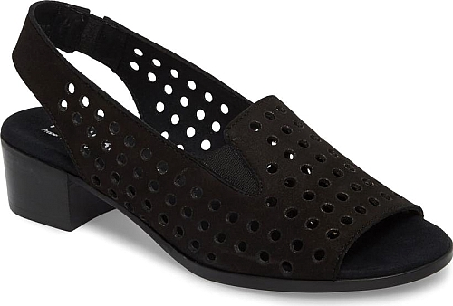 aedb381bab9a Women s Munro Mickee Slingback Sandal in Black Nubuck Leather. Circular  cutouts adds a breezy update to a cushy slingback sandal grounded by a  just-right ...