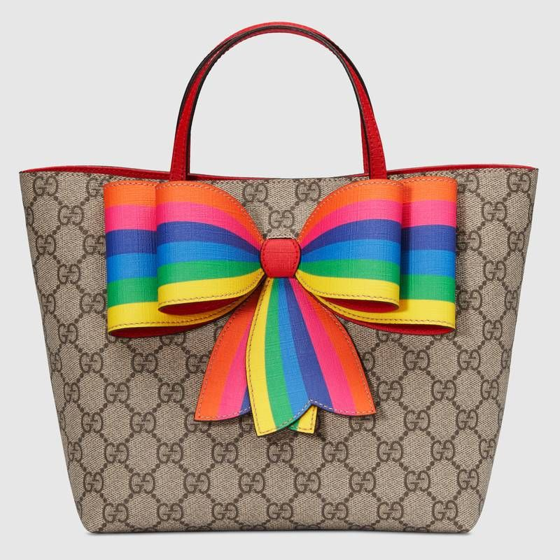 382b5921 Children's GG Supreme rainbow bow tote | STYLE INSPIRATION | Gucci ...