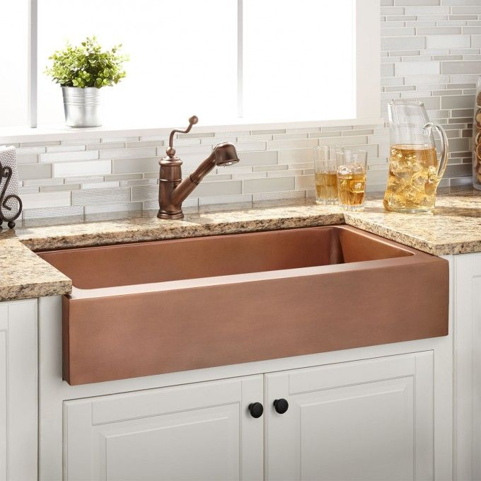 34 Mira Reversible Copper Farmhouse Sink In Smooth Interior