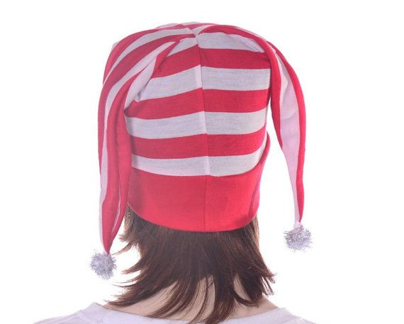 Red White Striped Jester Hat Harlequin Silver by MountainGoth