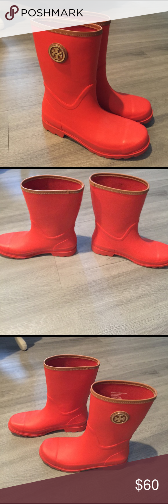 Tory Burch rain boots Worn twice! Very comfortable and waterproof Tory Burch Shoes Winter & Rain Boots