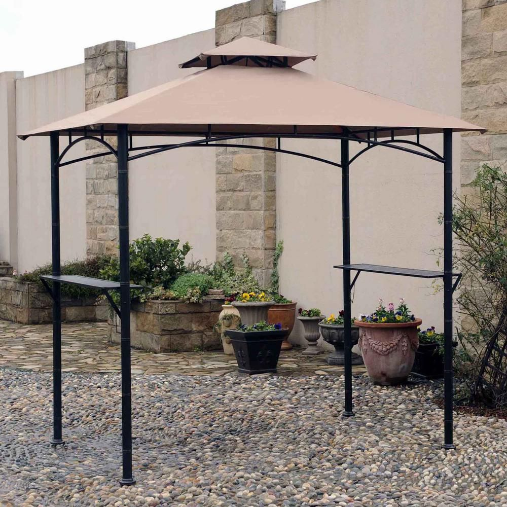 Sunjoy Replacement Canopy Set For L Gg019pst 8 Ft X 5 Ft Soft Top Grill Gazebo In Tan 110109212 The Home Depot Grill Gazebo Gazebo Replacement Canopy Gazebo