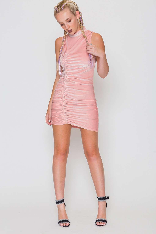 65c9380b71b382   Pink Velvet Ruched Mini Dress by Jaded London - Dresses - Clothing -  Topshop Europe