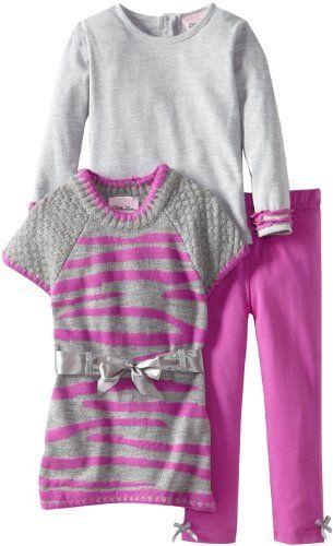 8b7c7833 Little Lass Baby-Girls Infant 2 Piece Belted Zebra Sweater Set, Purple, 12