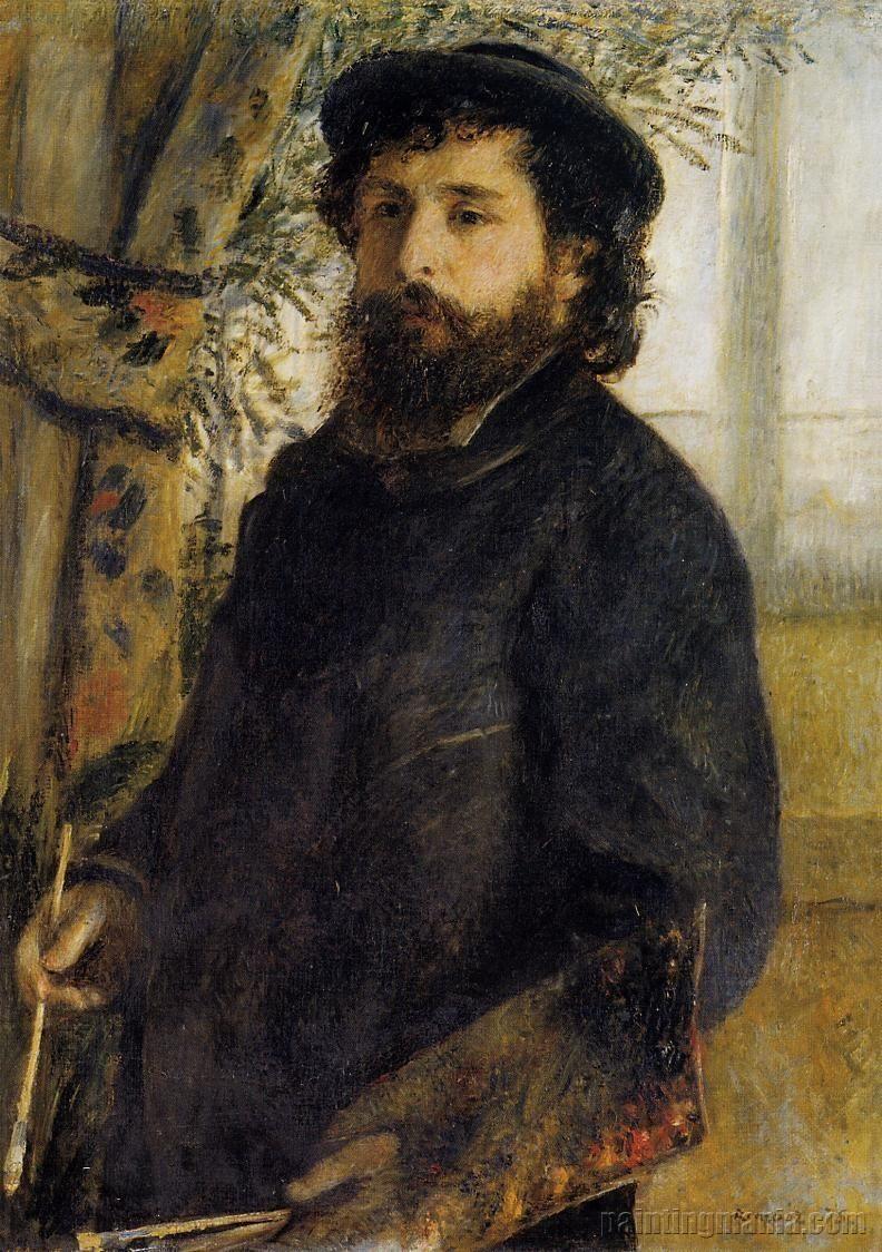 Claude Monet. Painting, c.1875 by Pierre-Auguste Renoir