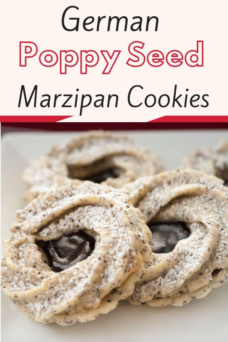 Mohn Marzipan Kringel mit Erdbeer-Rhabarber Marmelade #cookies