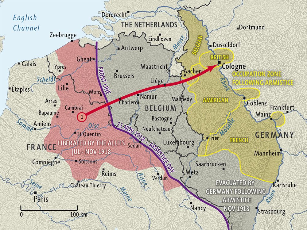 Armistice and occupation of Germany map Germany map, Wwi