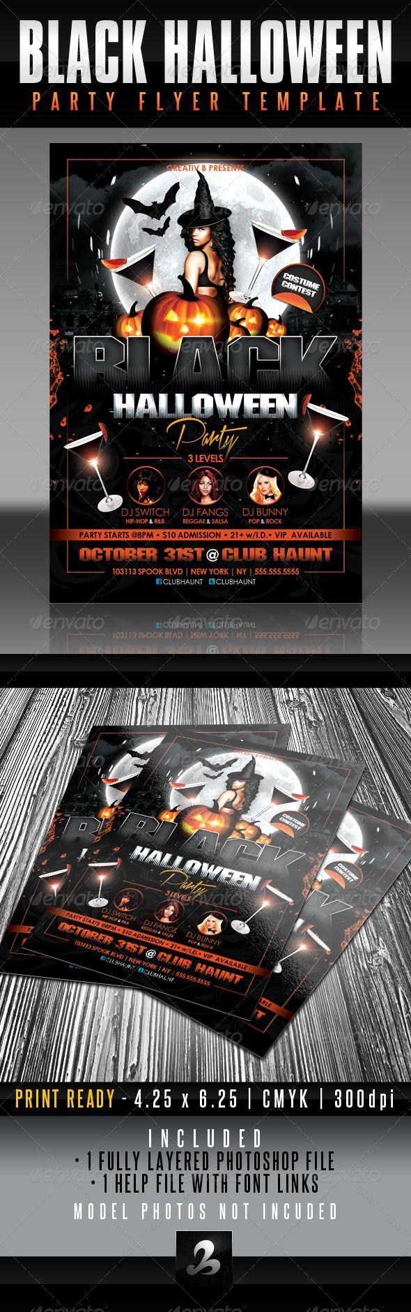 Black Halloween Party Flyer Template Halloween Party Flyer Party - Party invitation template: halloween costume party flyer