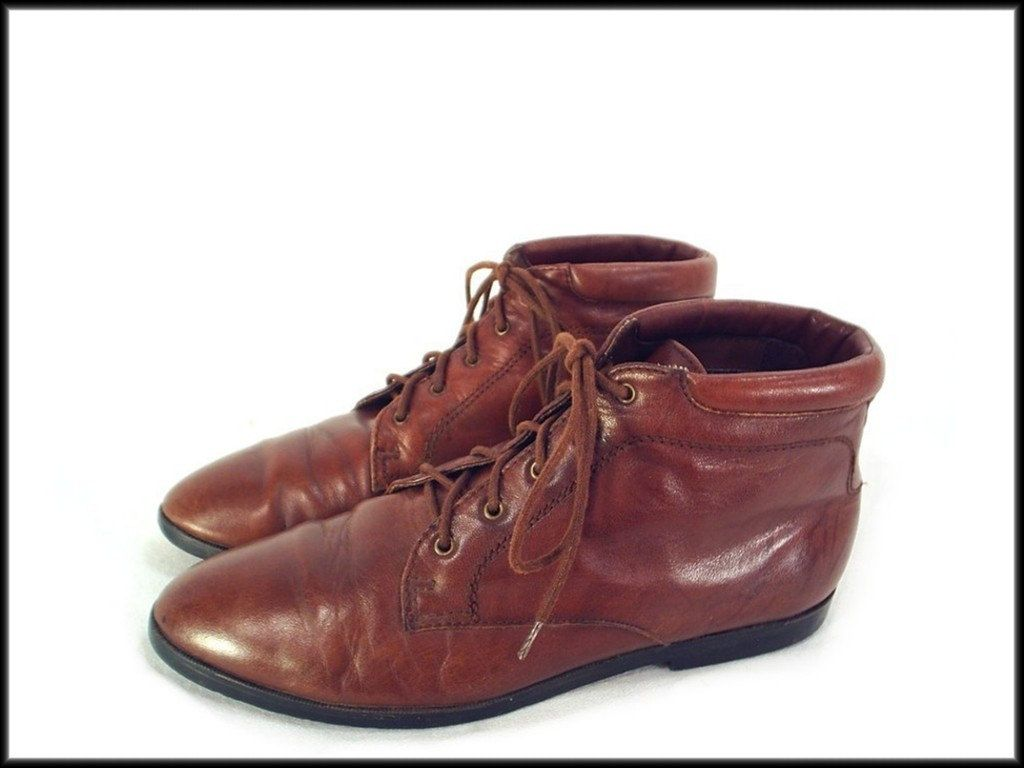 80's vintage BROWN leather lace up ankle oxford boots 8