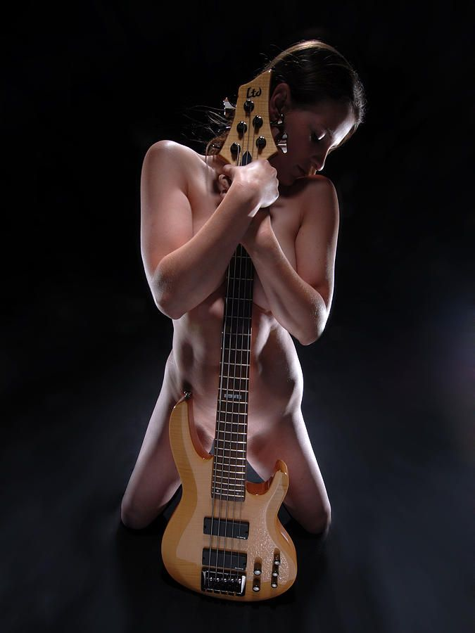 bass playing Naked guitar girl