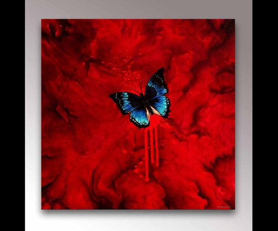Blue Butterfly Painting   Red Painting   Insect Painting   Signed Print   Abstract Art   Butterfly Decor   Butterfly Wall Art   Modern Art