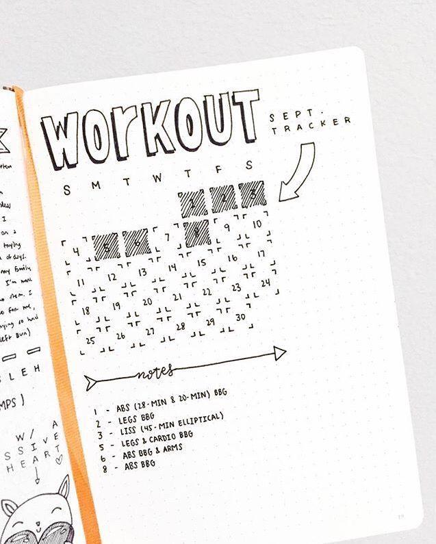 cute workout fitness tracker for bullet journal bullet journal