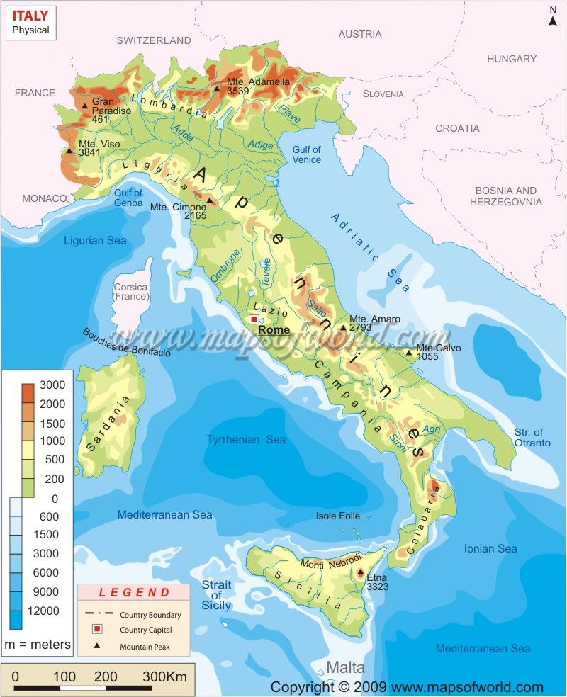 Italy physical map random pinterest italy and geography italy physical map features gumiabroncs Gallery