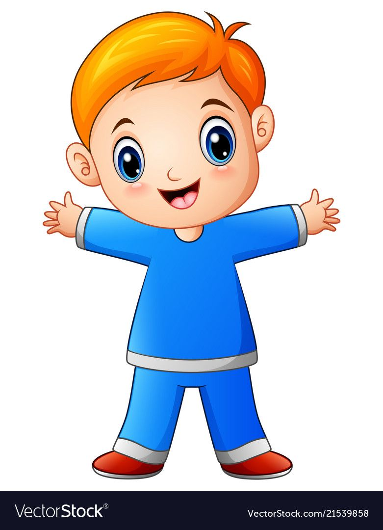 Cute little boy cartoon in blue shirt vector image on