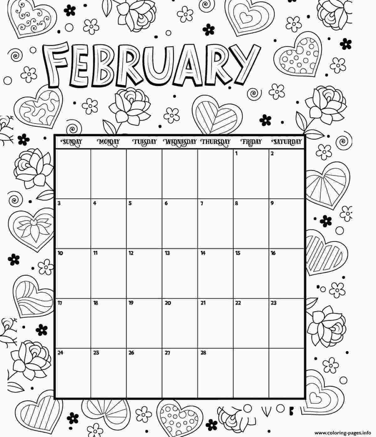 Free Coloring Calendar 2020 February Coloring Calendar Valentines Coloring Pages Printable Coloring Calendar Valentine Coloring Pages Printable Coloring Pages