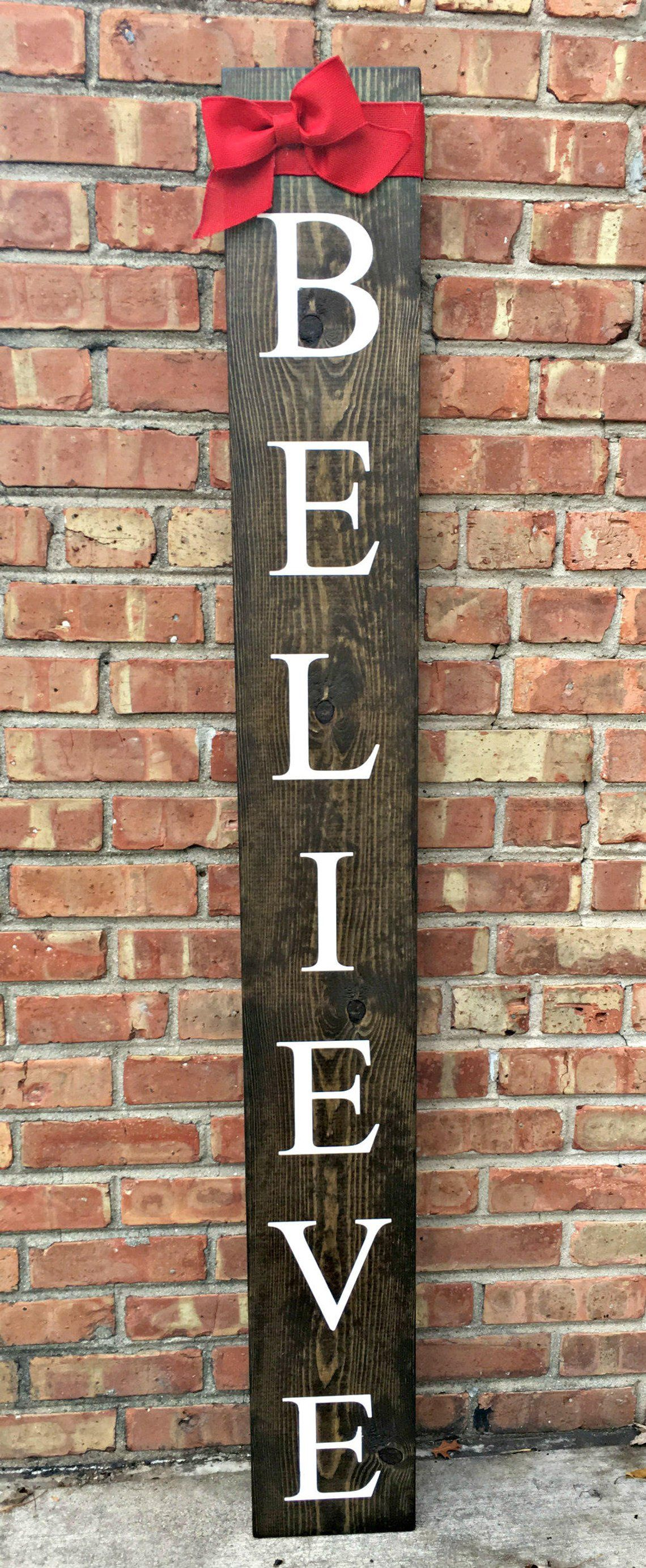 Large Wood Vertical Outdoor Welcome Sign Front Door Front Porch Wood Welcome Sign Believe Outdoor Winter Sign Believe Sign Welcome Signs Front Door