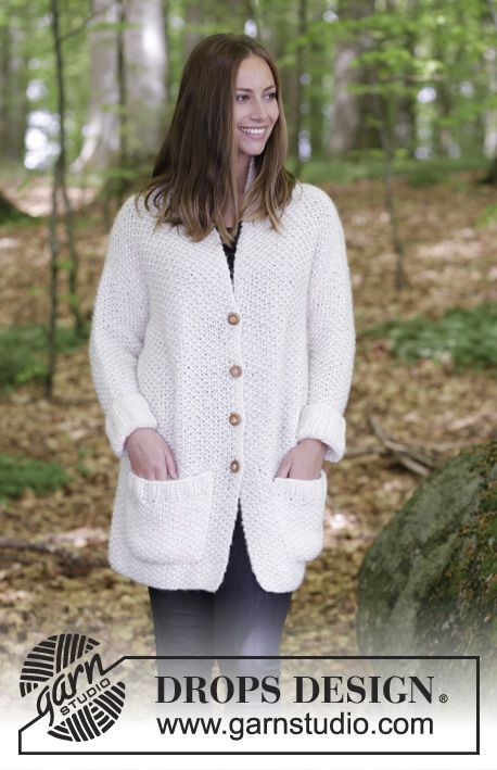 Cordillera / DROPS 184-27 - Jacket with seed stitch and collar. Size ...