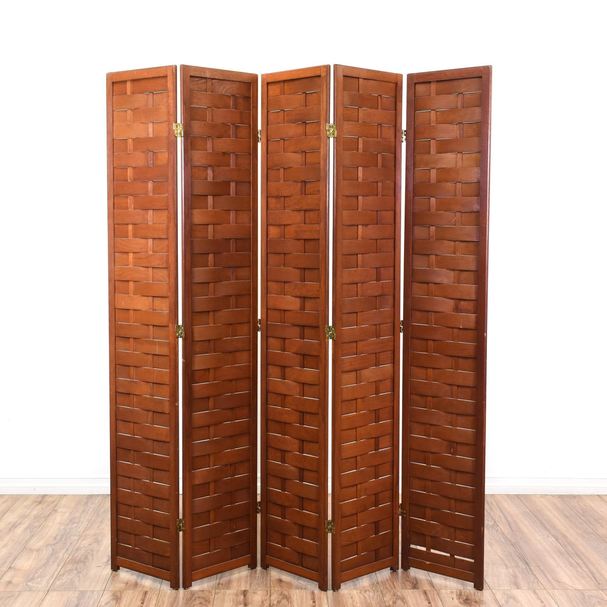 5 Panel Carved Wood Room Divider Screen