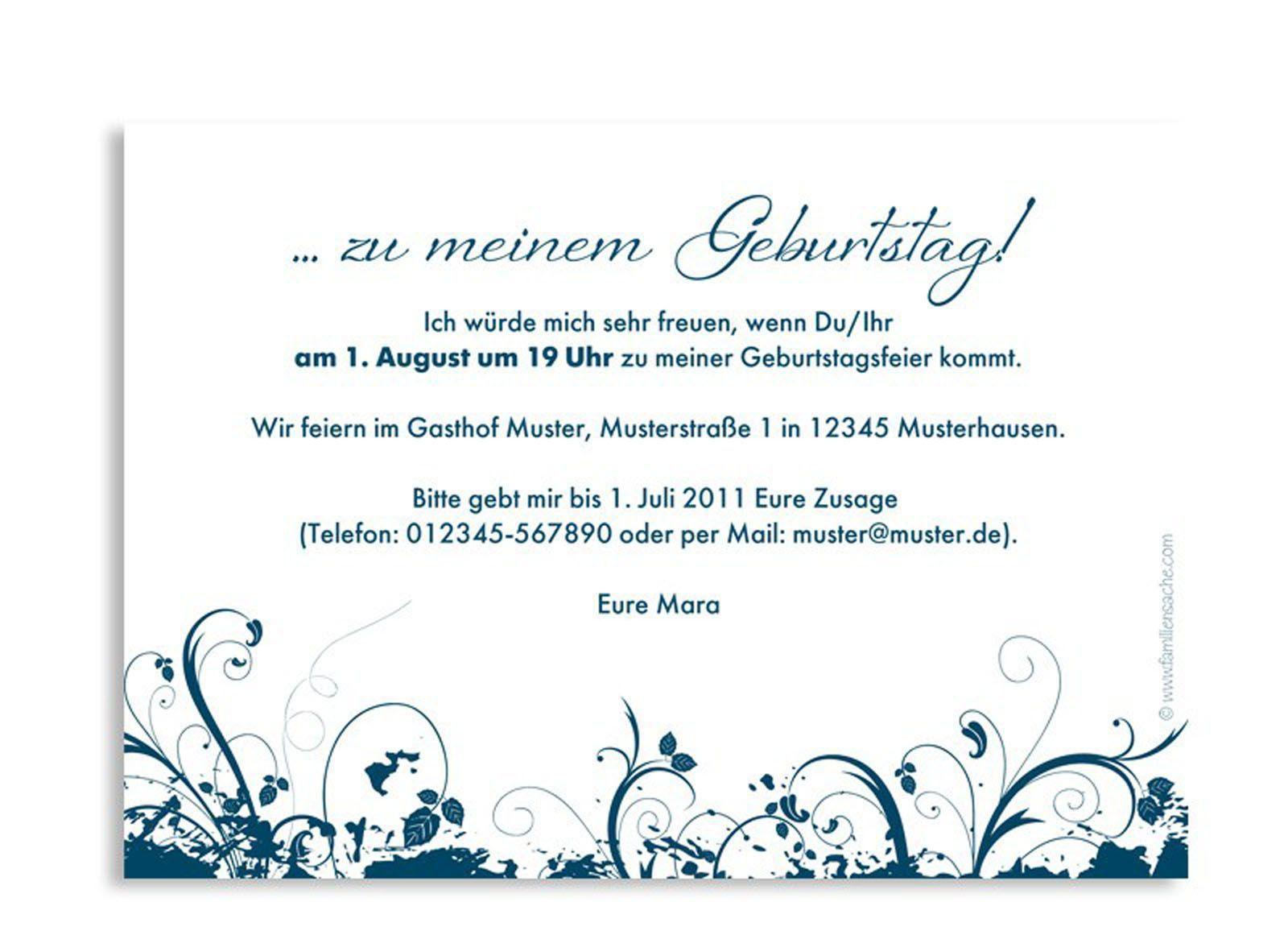Einladungskarten Geburtstag Texte