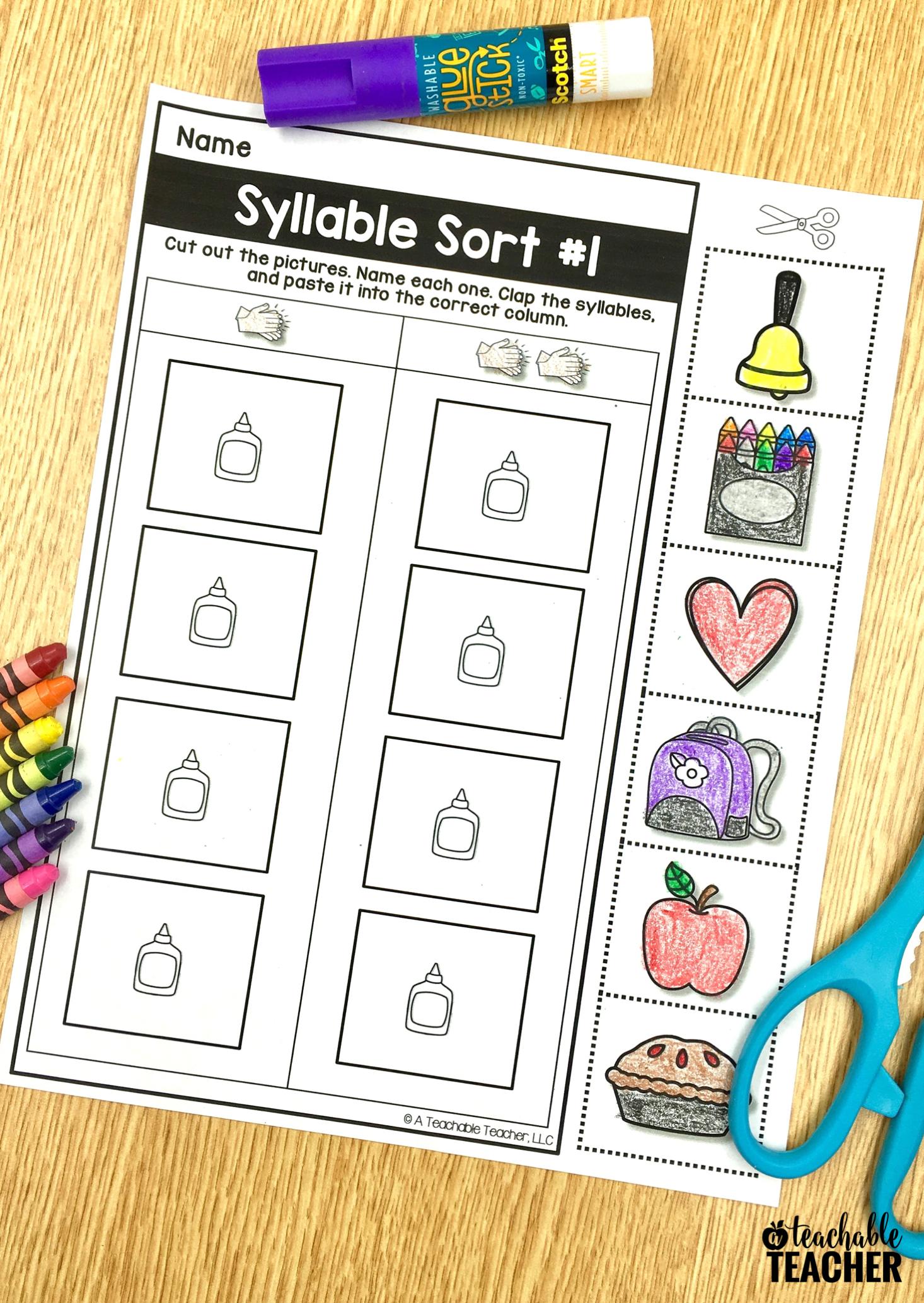 Free Phonemic Awareness Worksheets Interactive And Picture Based Phonemic Awareness Syllable Sort Kindergarten Syllable Sort [ 2067 x 1466 Pixel ]