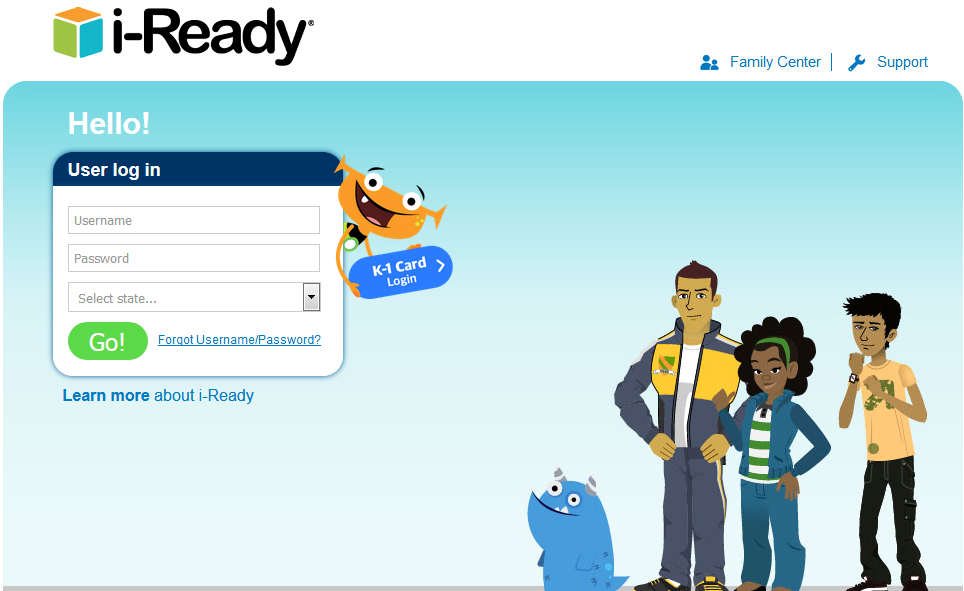iReady Login website Student Sign in