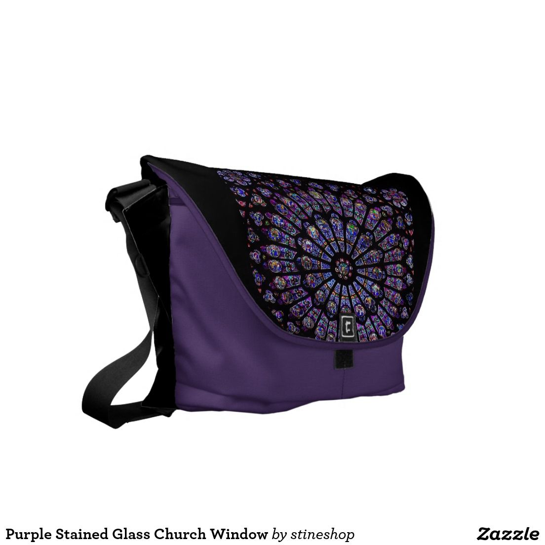Purple Stained Glass Church Window Messenger Bags