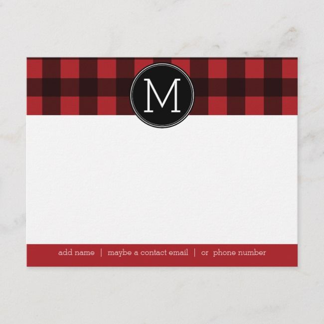 Rustic Red Black Buffalo Plaid Pattern Monogram Note Card #monogrammed #plaid #rugged #lumberjack #lumbersexual #NoteCard #plaid #tartan #pattern #gifting #giftgiving #giftideas
