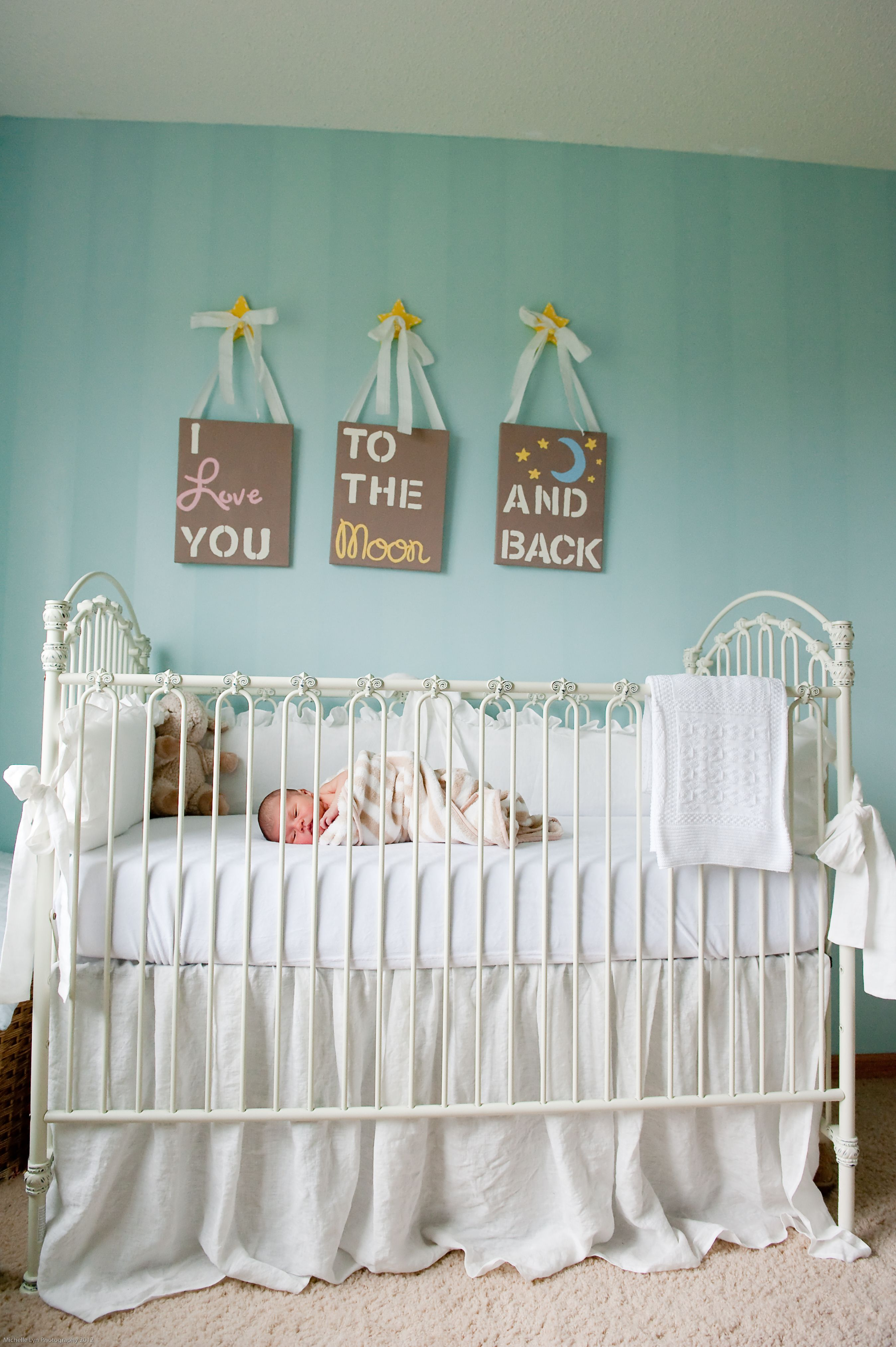 Gender Neutral Nursery Turquoise And White Nursery