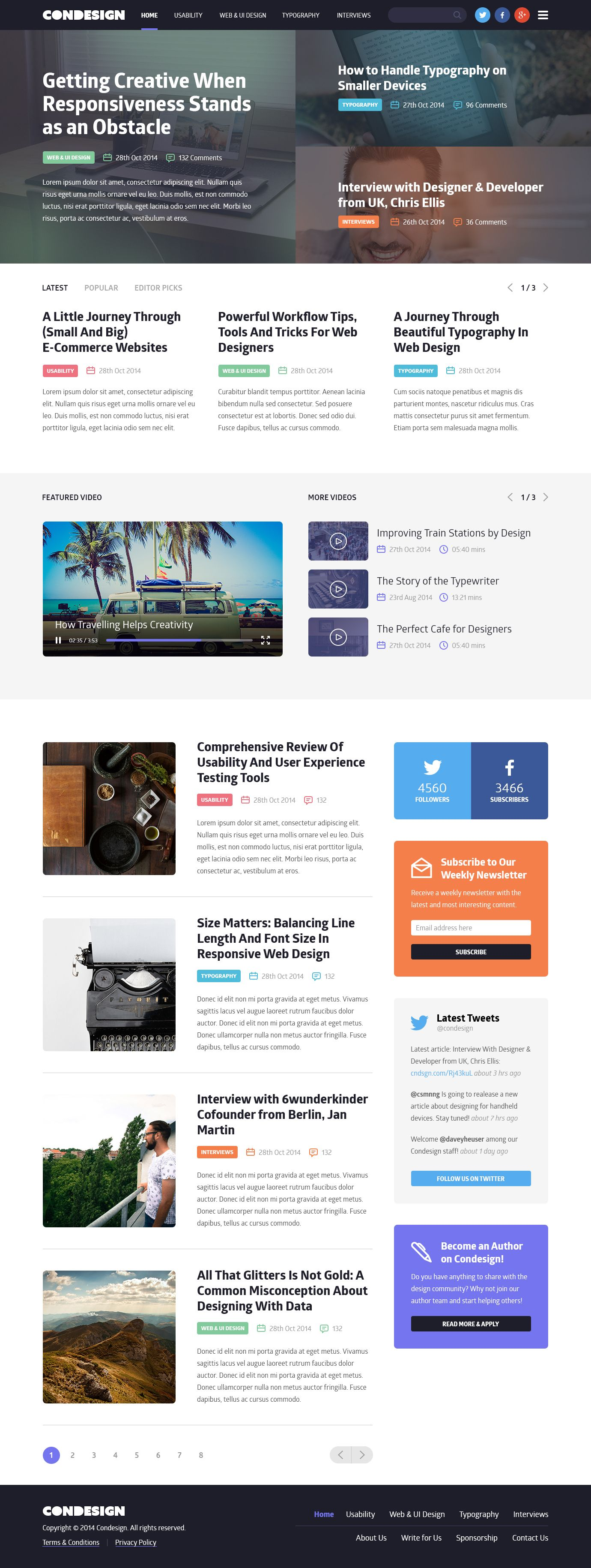 Condesign Blog Concept #blog #website #web [www.pinterest.com/loganless]