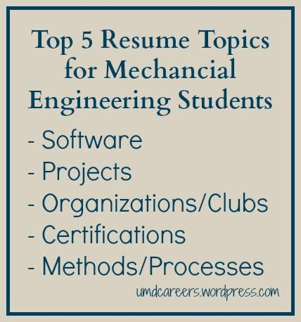 Top 5 Resume Topics for Mechanical Engineering Students | Pinterest ...