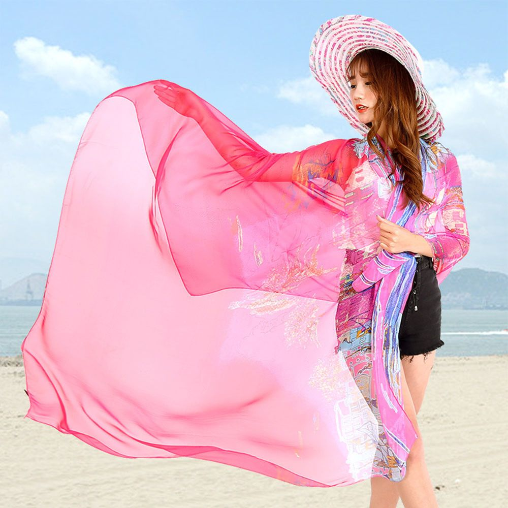 294af87d3ae89 Chiffon Scarf From India Beach Cover Up Bikini Women Brand Shawls and  Scarves poncho Wrap Pareo
