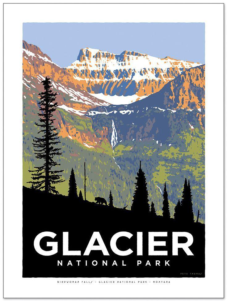 Vintage National Park Posters Part - 34: Image Of Glacier National Park Poster - Birdwoman Falls
