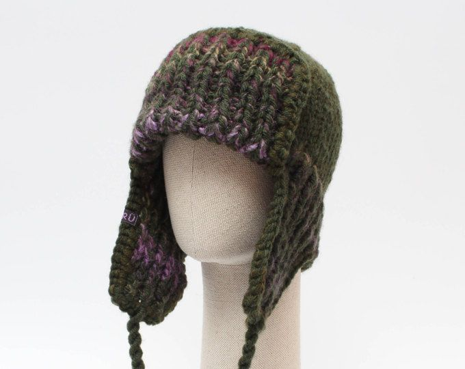 c1939af8fae DARK GREEN trapper hat   Unisex ear flap hat   Knitted chunky winter hat   Mens  trapper hat   Ear flap hat   Gift for Christmas   Mens hat