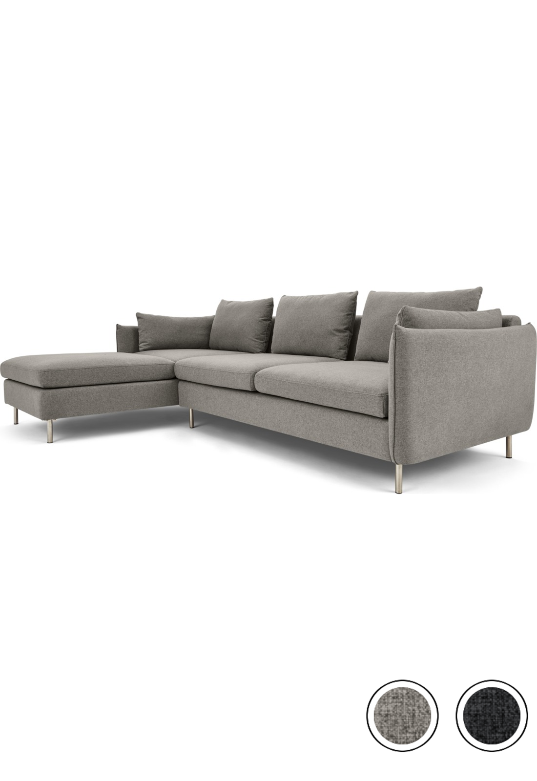 Made Manhattan Grey Chaise Longue Corner Sofa Sofa 3 Seater Sofa