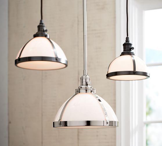 Kitchen Pendant Lighting Pottery Barn: PB Classic Milk Glass Pendant + Nickel Pole Kit, Small