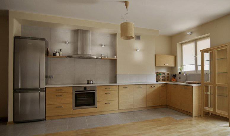 Otwarta na salon, nowoczesna kuchnia  jasne drewno plus   -> Kuchnia Jaki Okap