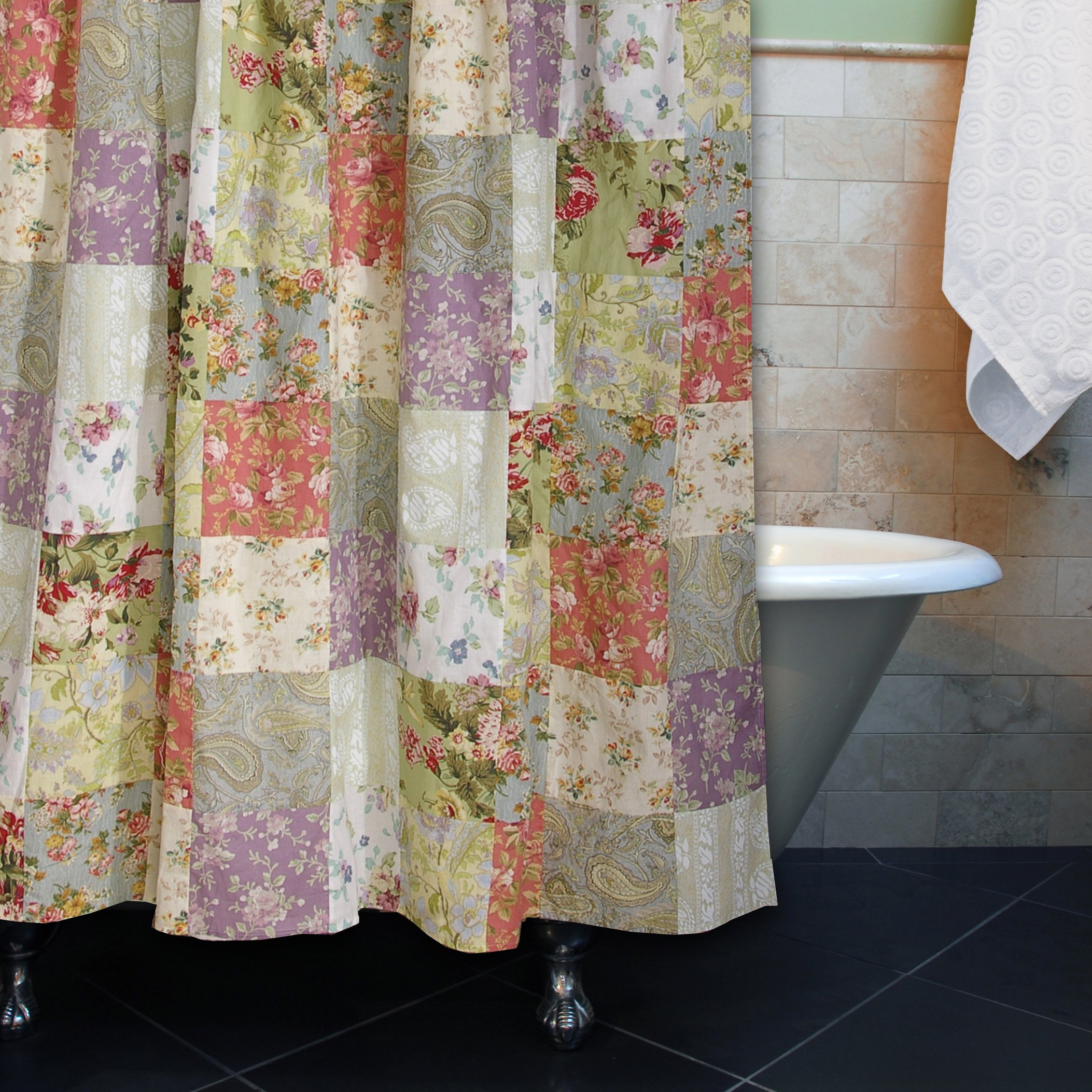 Greenland Home Blooming Prairie Patchwork Cotton Shower Curtain