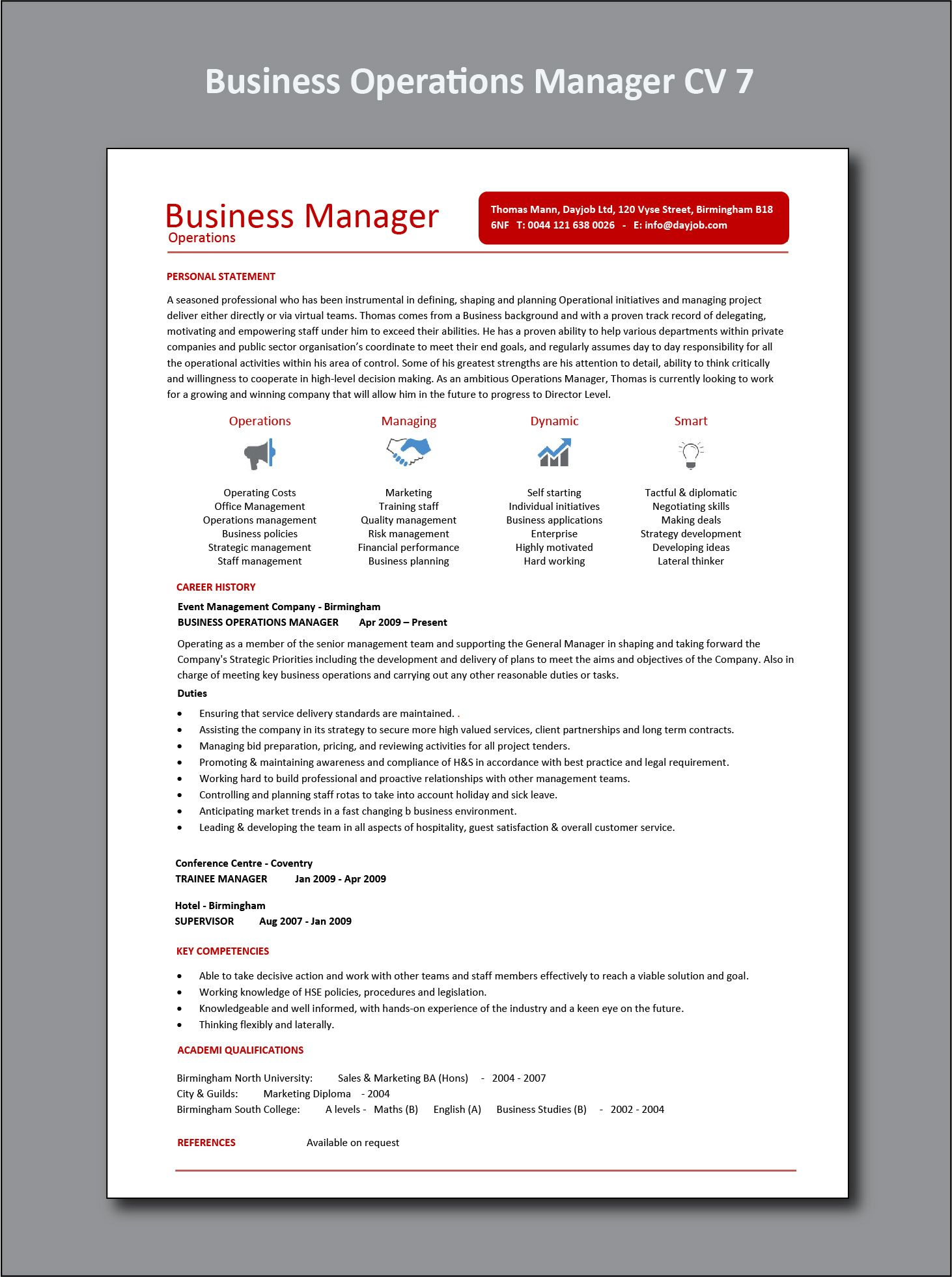 Business Operations Manager CV 7 example, project, PDF