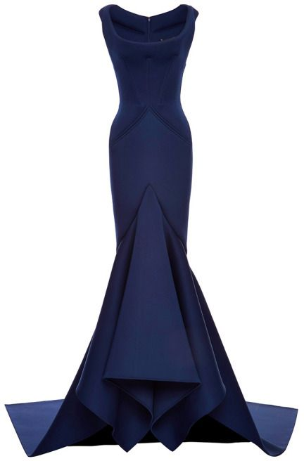 bc7962bf729 Zac Posen Solid Neoprene Flared Gown Navy - VaVaVoom! I love the high  mermaid draping of this gown.