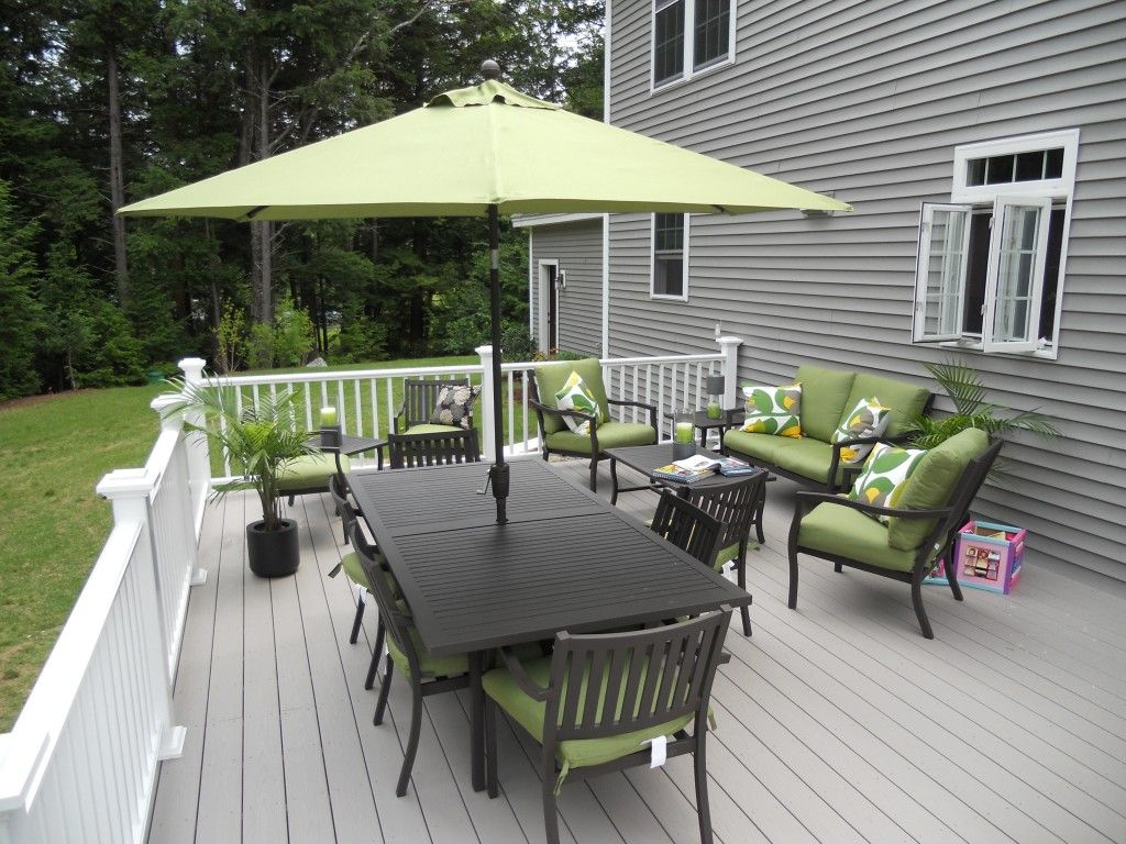 Awesome grey and white deck for the home pinterest for Patio deck decorating ideas