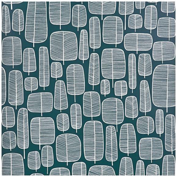 Papier peint vert émeraude motif darbres graphiques Little Trees – MissPrint