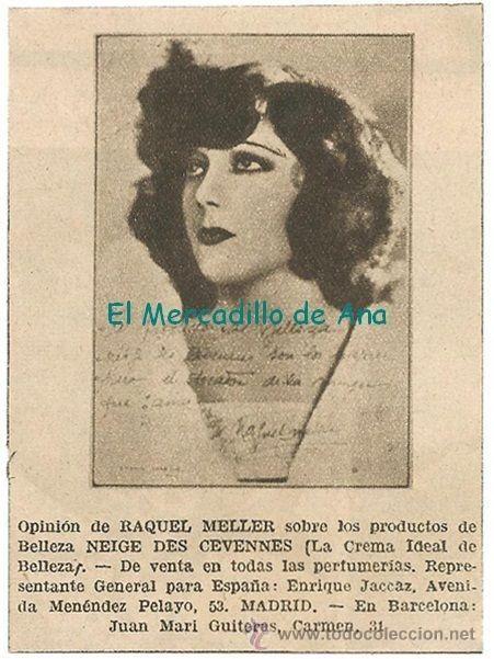 RAQUEL MELLER PUBLICIDAD NEIGE DES CEVENNES RECORTE DE PRENSA AÑOS TREINTA