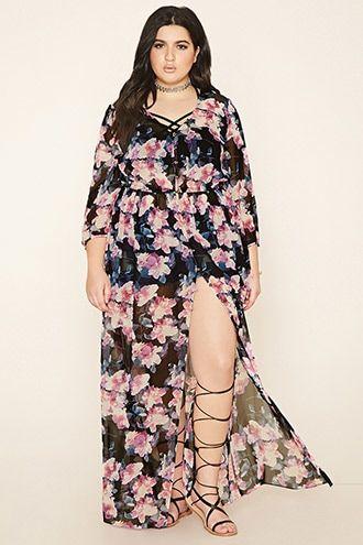 Floral print maxi dress plus size