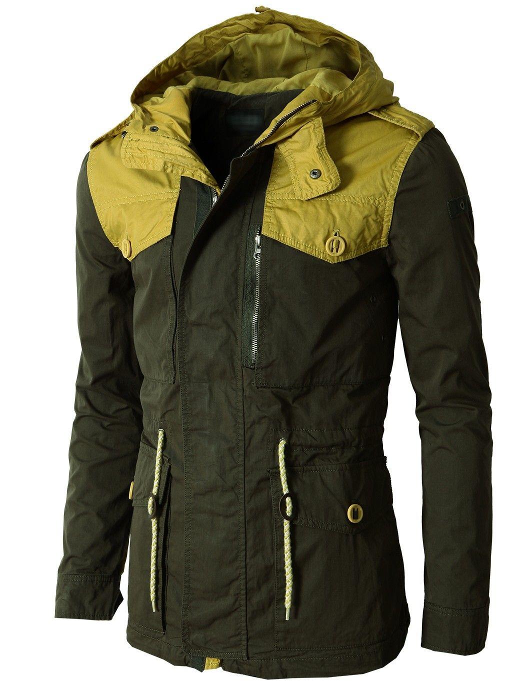 Doublju Men's Field Hoodie Jacket With Two Tone Long Sleeves (KMOJA0123) #doublju