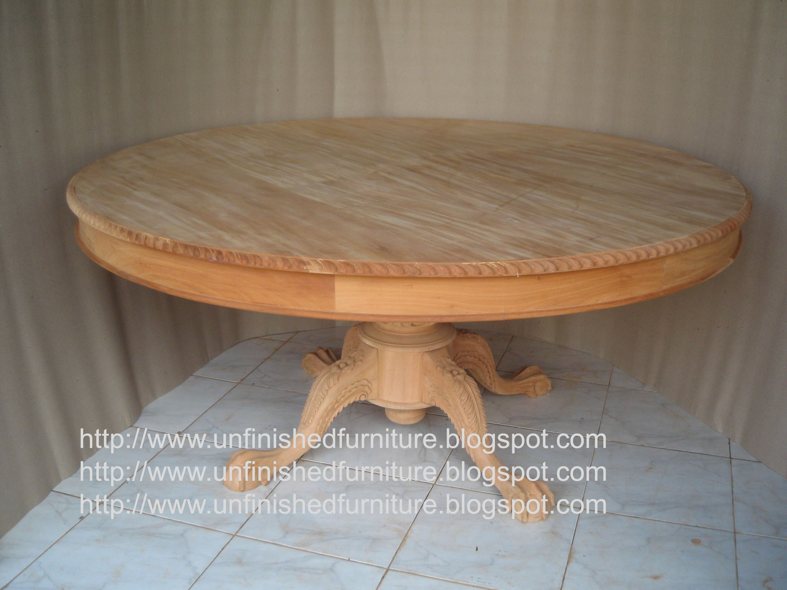 Unfinished mahogany Furniture Round Chippendale Dining table