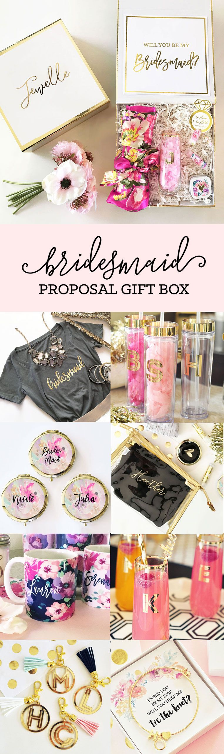 Personalized Gift Box | Bridesmaid proposal gifts, Wedding and Weddings